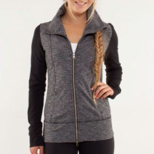 LULULEMON Daily Yoga Jacket Zip Up Black Grey 10